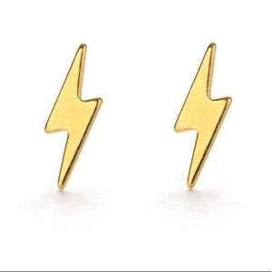Gold mini lightning bolt earrings